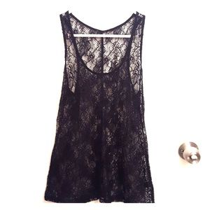 Express black lace, see through tank in xs